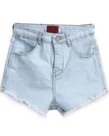 Light Blue Pockets Fringe Denim Shorts