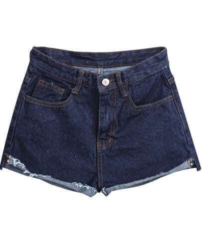 Navy Pockets Flange Denim Shorts