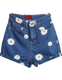 Navy Pockets Daisy Print Denim Shorts