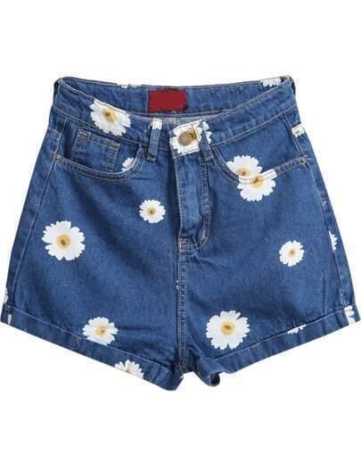 Navy Pockets Daisy Print Denim Shorts