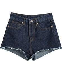 Navy Pockets Fringe Denim Shorts