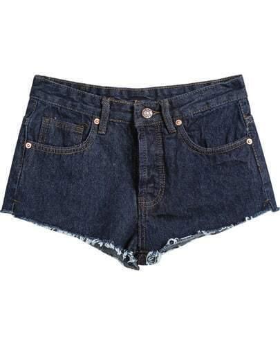 Navy Pockets Fringe Straight Denim Shorts