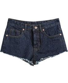 Navy Pockets Fringe Straight Denim Shorts