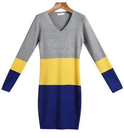 Grey Yellow Blue V Neck Long Sleeve Knit Dress