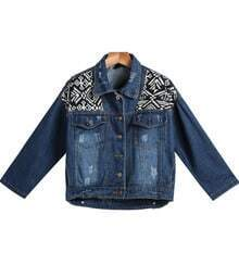 Navy Long Sleeve Geometric Pattern Denim Jacket