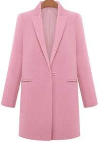 Pink Lapel Long Sleeve Pockets Woolen Coat