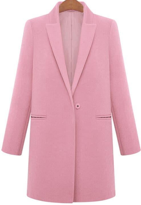 Pink Lapel Long Sleeve Pockets Woolen Coat -SheIn(Sheinside)