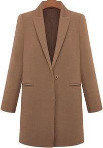 Coffee Lapel Long Sleeve Pockets Woolen Coat