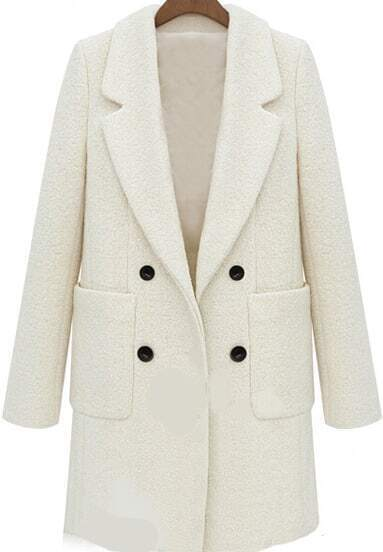 Beige Lapel Long Sleeve Pockets Woolen Coat