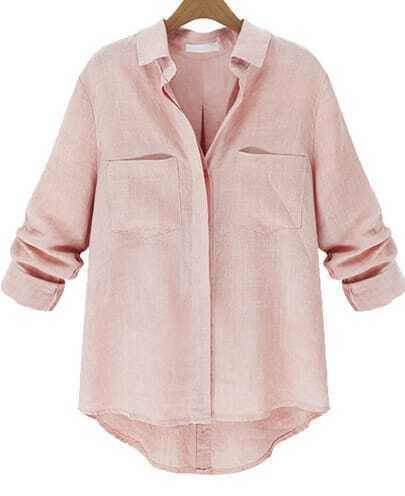Pink Lapel Long Sleeve Pockets Loose Blouse