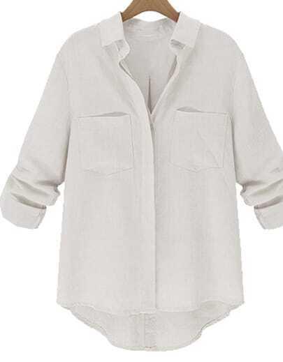 White Lapel Long Sleeve Pockets Loose Blouse
