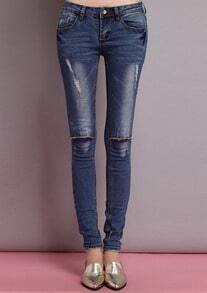 Blue Skinny Ripped Bleached Denim Pant