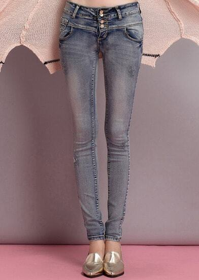 Blue Slim Pockets Elastic Denim Pant