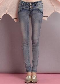 Blue Slim Pockets Elastic Denim Pant