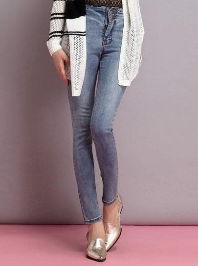 Blue High Waist Slim Denim Pant