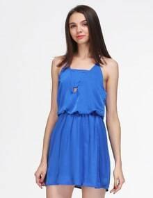 Blue Spaghetti Strap Backless Slim Dress