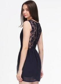 Navy V Neck Sleeveless Lace Slim Dress