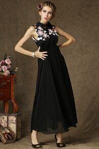 Black Sleeveless Embroidered Maxi Dress