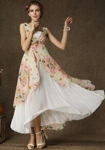 White V Neck Sleeveless Butterfly Print Maxi Dress