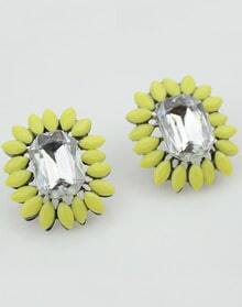 Yellow Gemstone Silver Stud Earrings