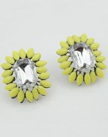 Yellow Gemstone Silver Stud Earrings