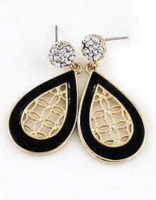 Black Gold Hollow Drop Earrings