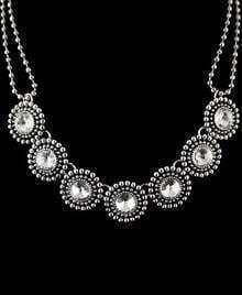 Silver Bead Diamond Necklace