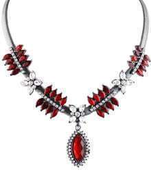 Red Gemstone Silver Elegant Necklace