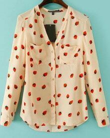 Apricot V Neck Long Sleeve Strawberry Print Blouse
