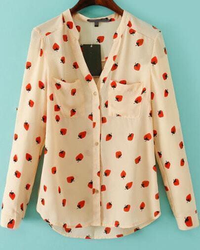 Apricot V Neck Long Sleeve Strawberry Print Blouse