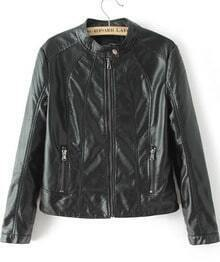 Black Stand Collar Long Sleeve PU Leather Jacket