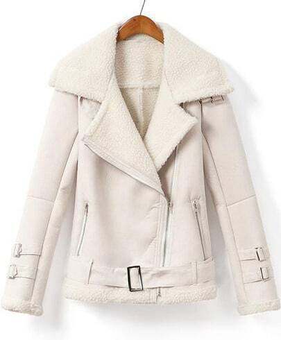 White Lapel Long Sleeve Pockets Jacket