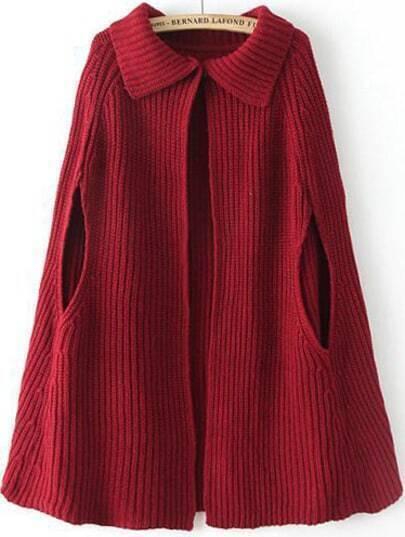 Red Lapel Loose Knit Cape Sweater -SheIn(Sheinside)