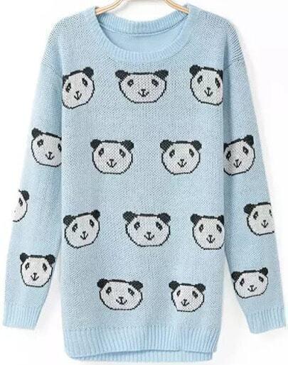 Blue Long Sleeve Panda Print Knit Sweater