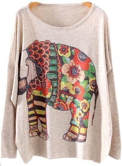 Beige Long Sleeve Elephants Print Knit Sweater