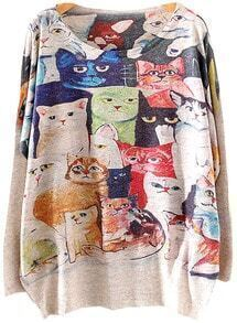 Grey Batwing Long Sleeve Cats Print Knit Sweater