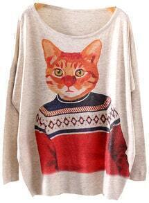 Grey Batwing Long Sleeve Cat Print Loose Sweater