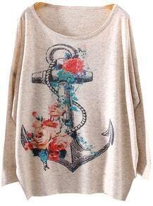 Grey Batwing Long Sleeve Anchors Print Loose Sweater
