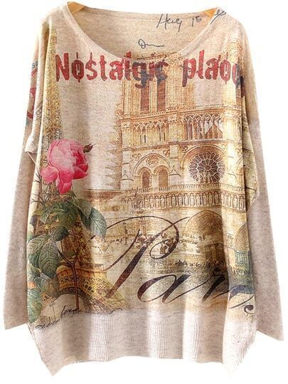 Grey Batwing Long Sleeve Notre Dame Print Loose Sweater