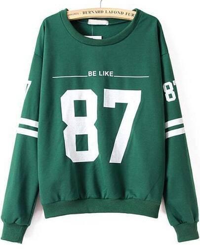 Green Long Sleeve 87 Print Loose Sweatshirt