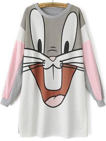 Grey Long Sleeve Bugs Bunny Print Sweatshirt