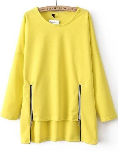 Yellow Long Sleeve Zipper Dipped Hem T-Shirt