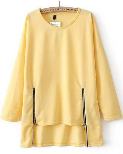 Light Yellow Long Sleeve Zipper Dipped Hem T-Shirt