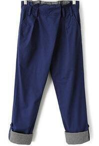 Blue Contrast Plaid Pockets Loose Pant