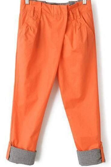 Orange Contrast Plaid Pockets Loose Pant