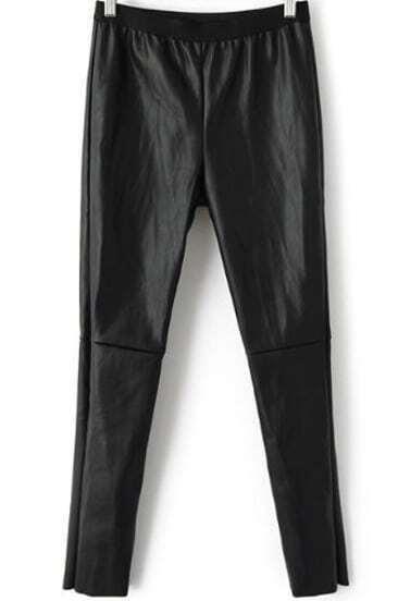 Black Elastic Waist Slim Leather Pant