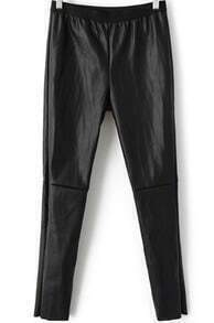 Black Elastic Waist Slim Leather Pant