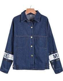 Navy Lapel Long Sleeve Mickey Print Denim Jacket