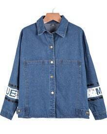 Blue Lapel Long Sleeve Mickey Print Denim Jacket