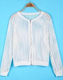White Long Sleeve Vertical Stripe Hollow Jacket